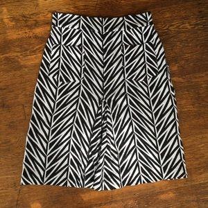 Diane Von Furstenburg Black & White Pattern Skirt